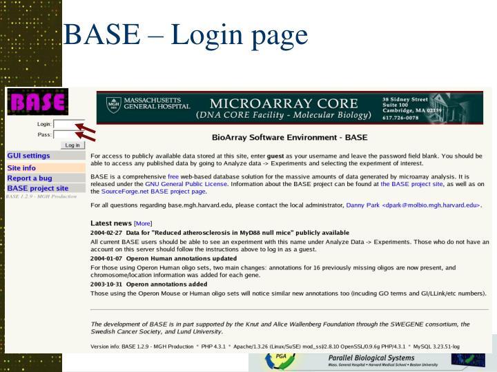 BASE – Login page