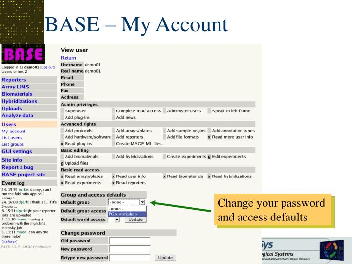 BASE – My Account