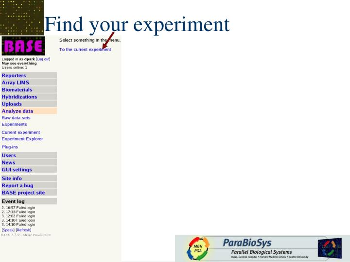Find your experiment