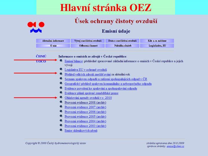 Hlavní stránka OEZ