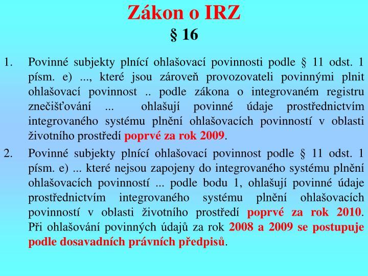 Zákon o IRZ