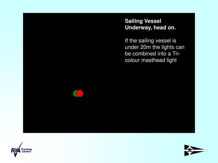 Sailing Vessel Underway, head on.