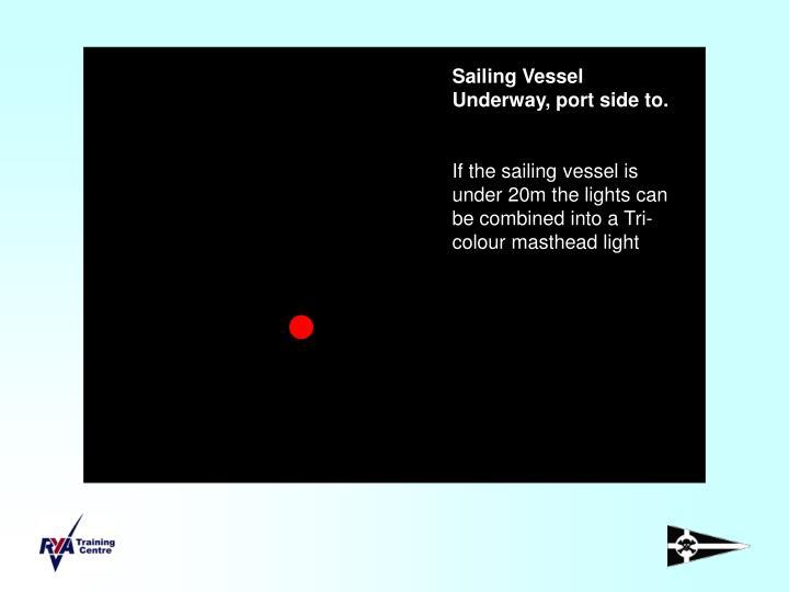 Sailing Vessel Underway, port side to.