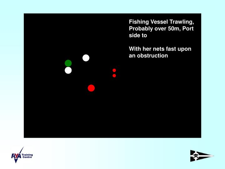 Fishing Vessel Trawling, Probably over 50m, Port side to