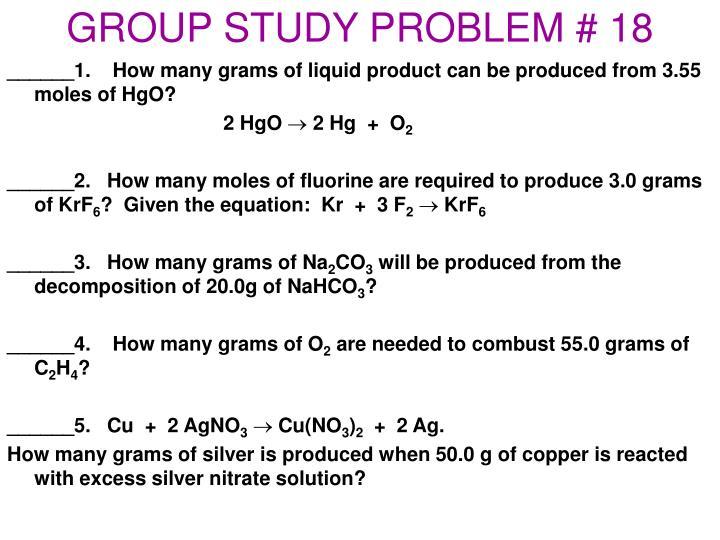 GROUP STUDY PROBLEM # 18