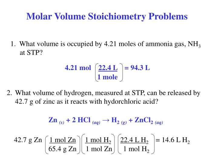 Molar Volume Stoichiometry Problems