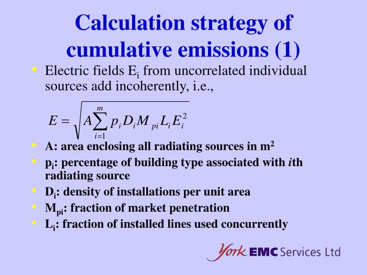 Calculation strategy of cumulative emissions (1)