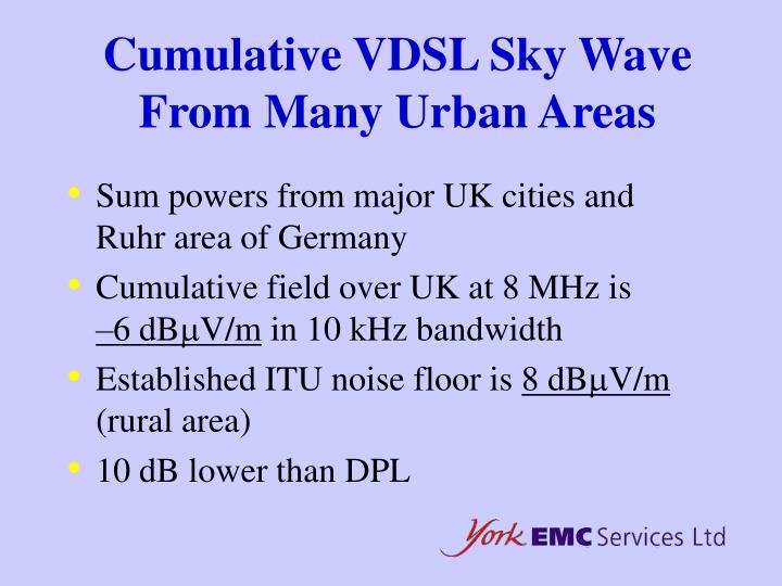 Cumulative VDSL Sky Wave From Many Urban Areas