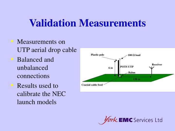 Validation Measurements