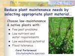 reduce plant maintenance needs by selecting appropriate plant material