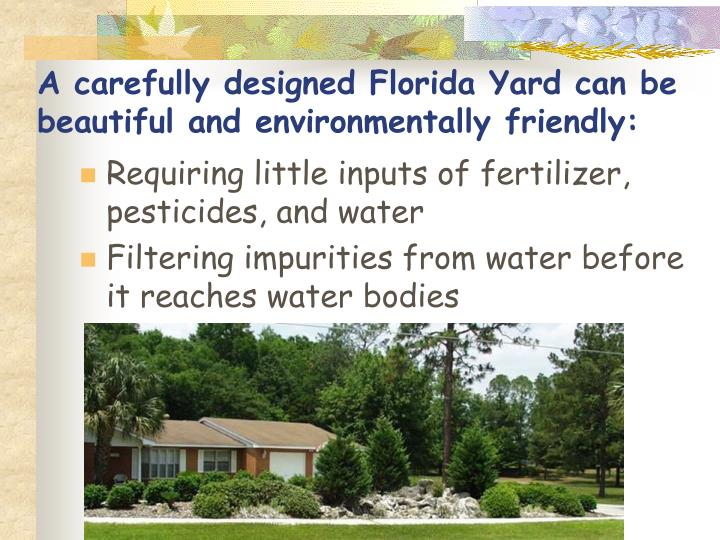 A carefully designed Florida Yard can be beautiful and environmentally friendly: