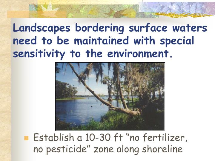 Landscapes bordering surface waters need to be maintained with special sensitivity to the environment.