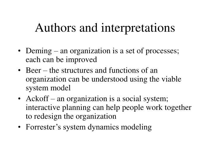 Authors and interpretations