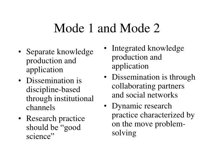 Separate knowledge production and application