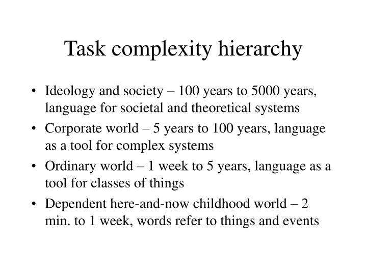 Task complexity hierarchy