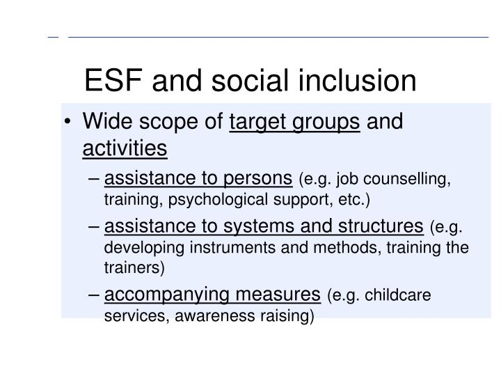 ESF and social inclusion
