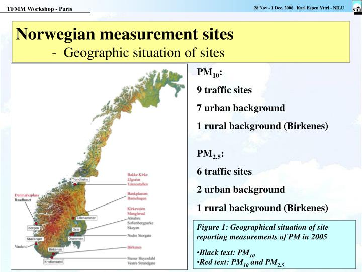 Norwegian measurement sites