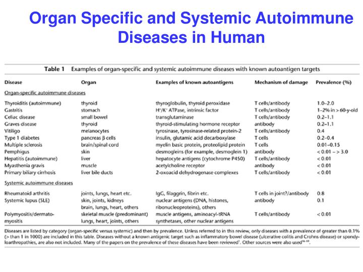 Organ Specific and Systemic Autoimmune Diseases in Human