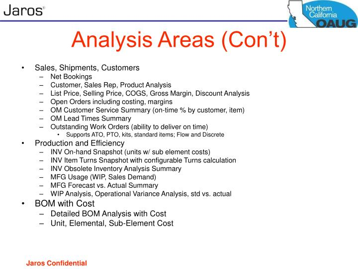 Analysis Areas (Con't)