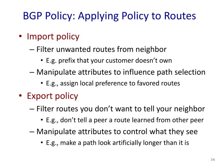 BGP Policy: Applying Policy to Routes