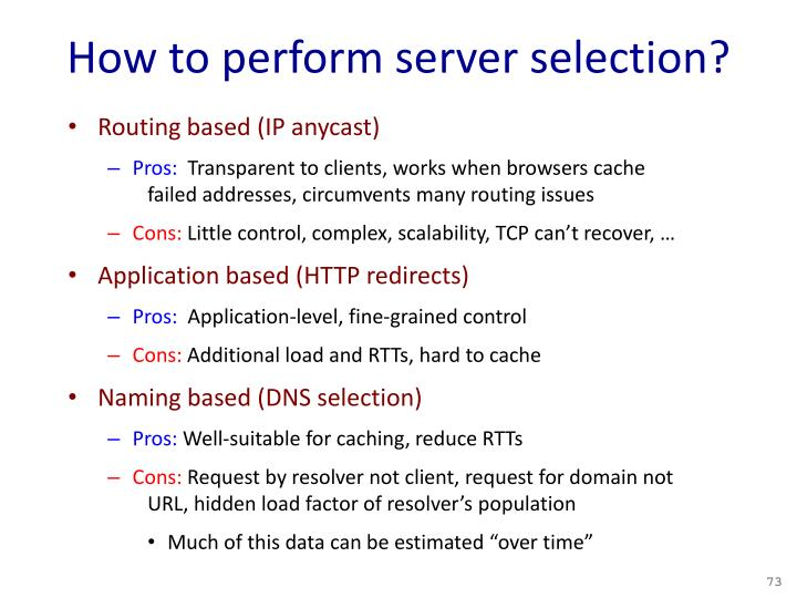How to perform server selection?