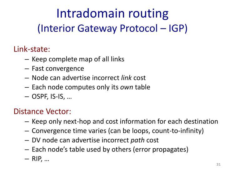 Intradomain routing