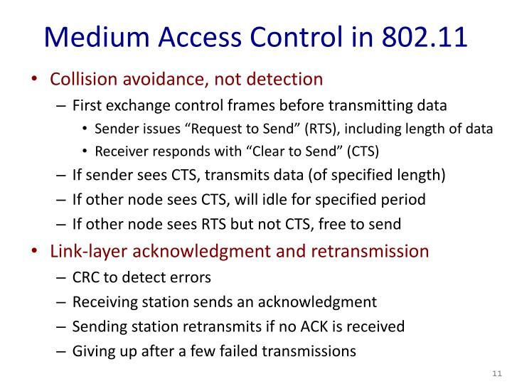 Medium Access Control in 802.11