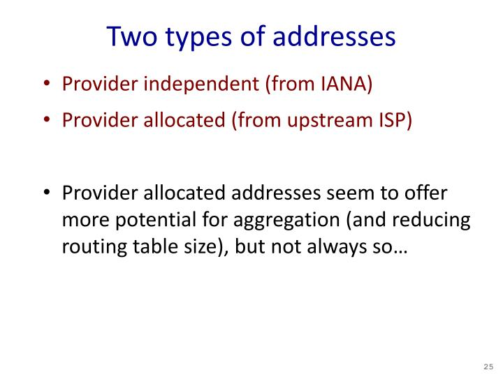 Two types of addresses