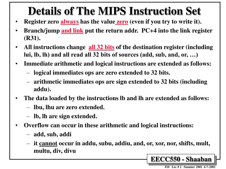 Details of The MIPS Instruction Set