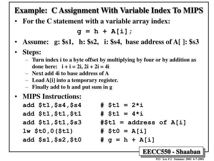 Example:  C Assignment With Variable Index To MIPS