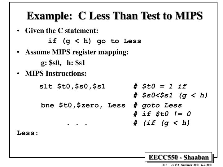 Example:  C Less Than Test to MIPS