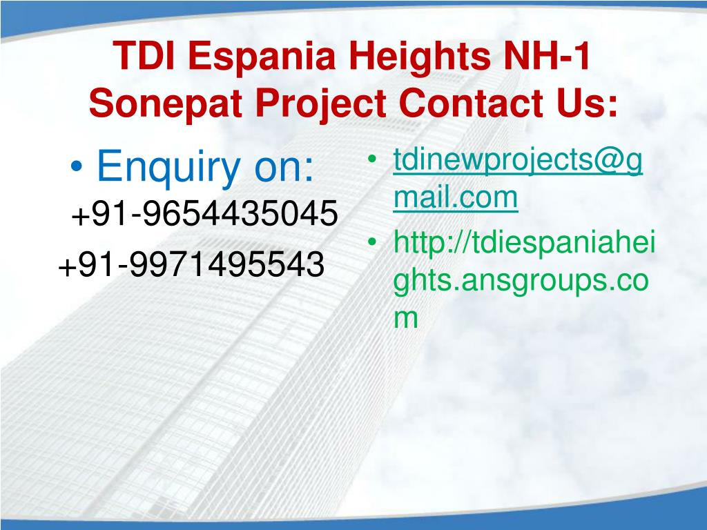 TDI Espania Heights NH-1 Sonepat