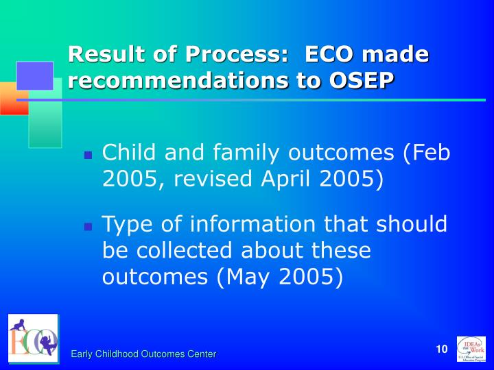 Result of Process:  ECO made recommendations to OSEP