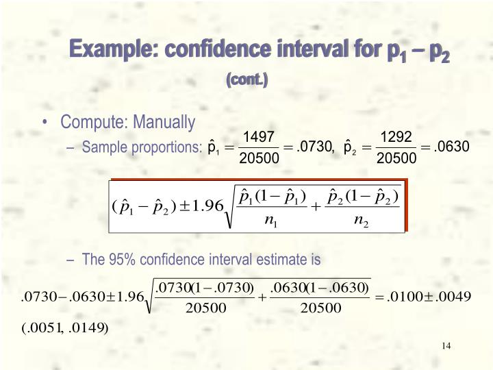 Example: confidence interval for p