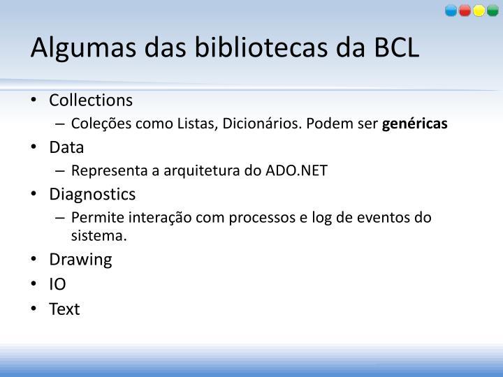 Algumas das bibliotecas da BCL
