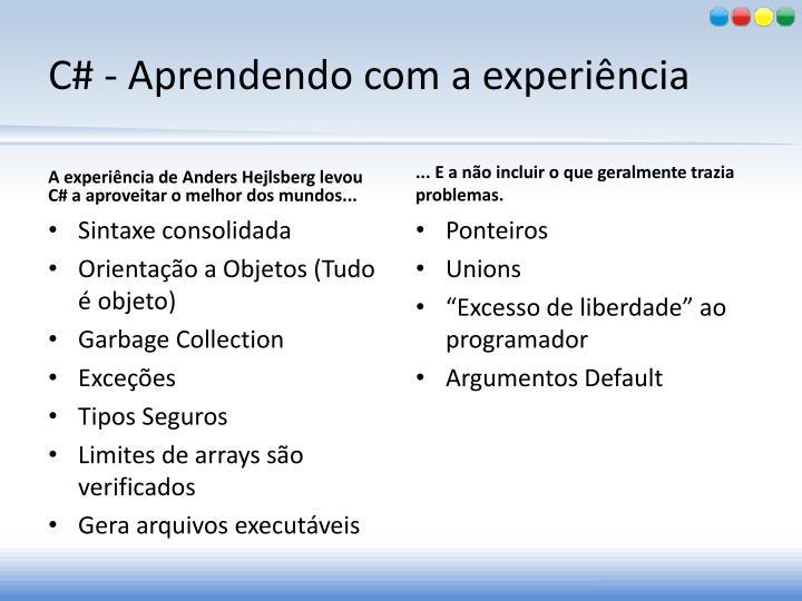 C# - Aprendendo com a experiência