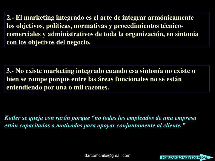 2.- El marketing integrado es el arte de integrar armónicamente