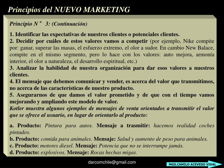 Principios del NUEVO MARKETING