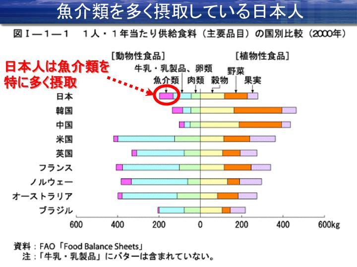 魚介類を多く摂取している日本人