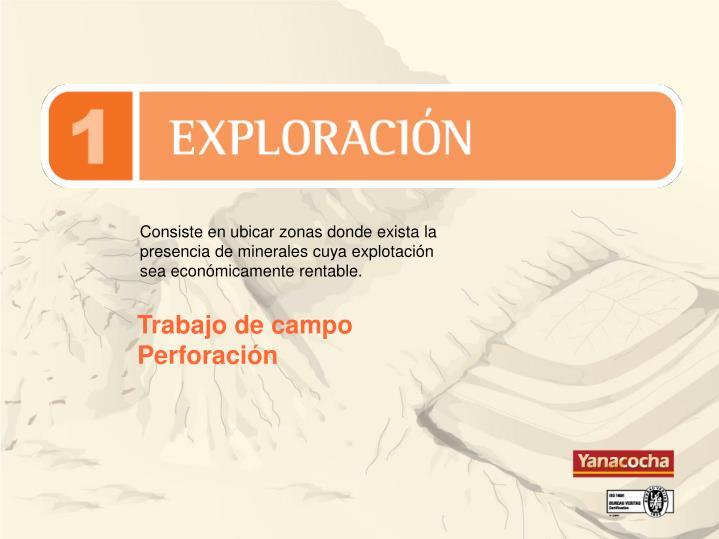 Consiste en ubicar zonas donde exista la presencia de minerales cuya explotación sea económicamente rentable.