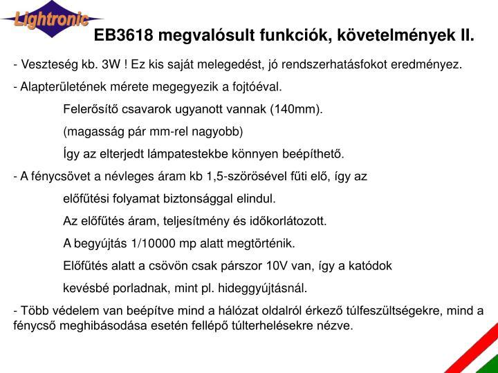 EB3618 megvalósult funkciók, követelmények II.