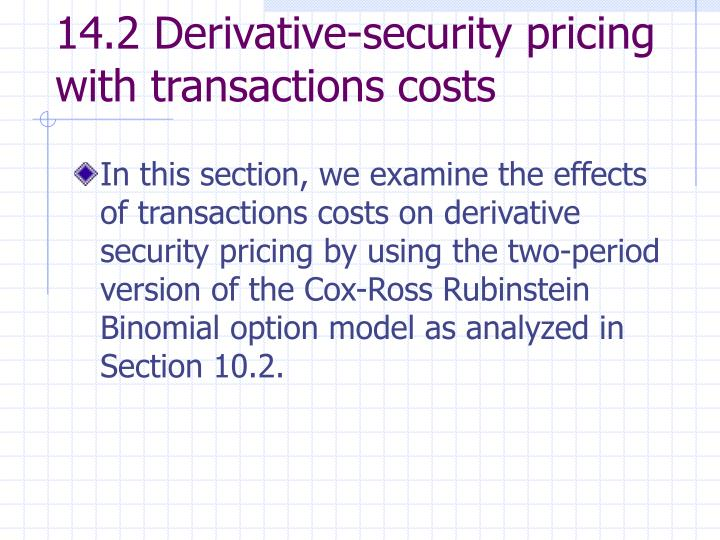 14.2 Derivative-security pricing with transactions costs