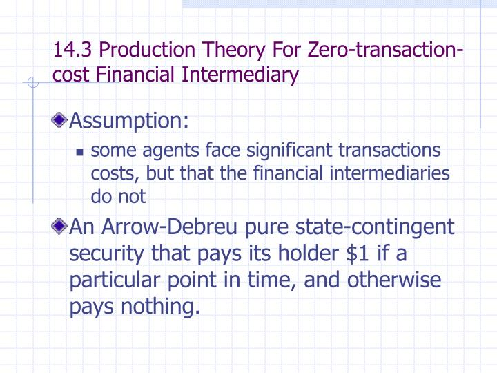14.3 Production Theory For Zero-transaction-cost Financial Intermediary