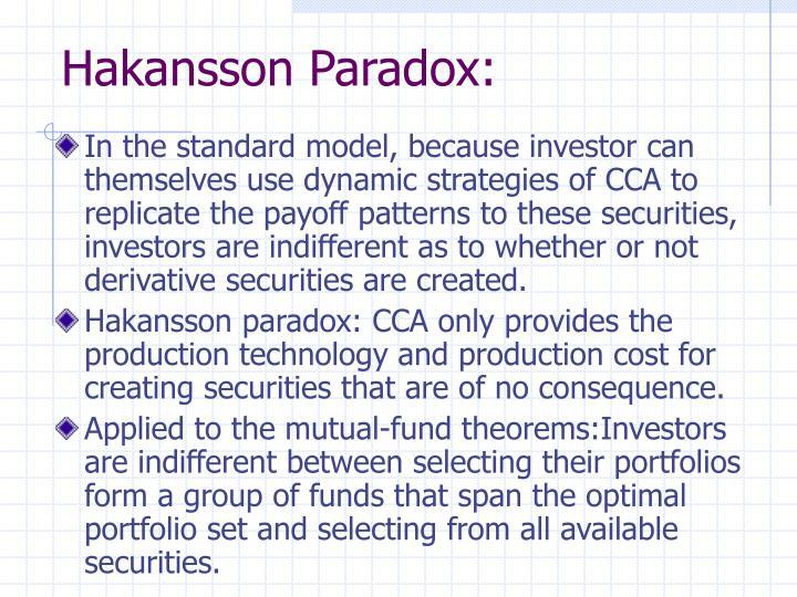 Hakansson Paradox: