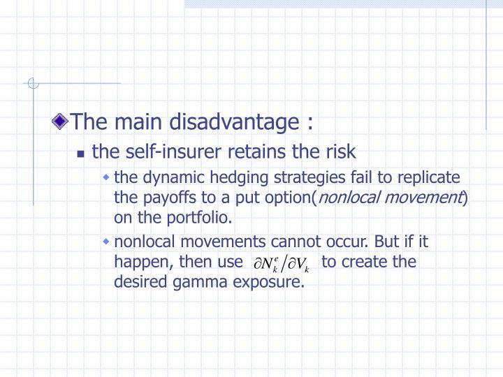 The main disadvantage :