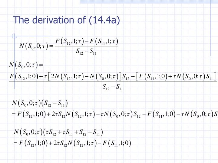 The derivation of (14.4a)