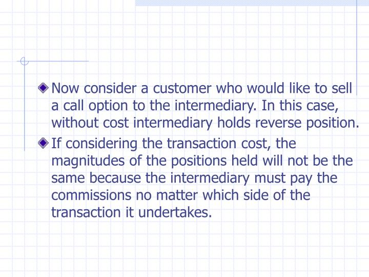 Now consider a customer who would like to sell a call option to the intermediary. In this case, without cost intermediary holds reverse position.