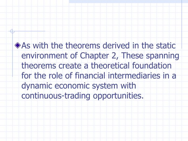 As with the theorems derived in the static environment of Chapter 2, These spanning theorems create a theoretical foundation for the role of financial intermediaries in a dynamic economic system with continuous-trading opportunities.