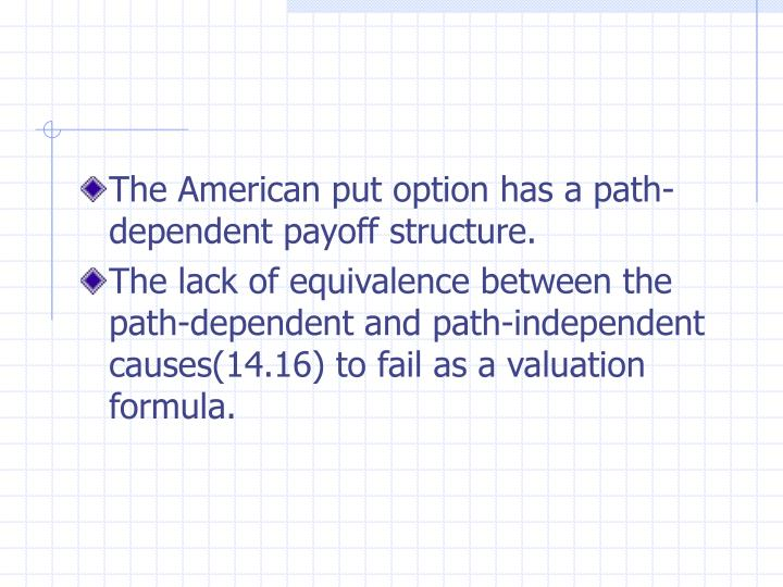 The American put option has a path-dependent payoff structure.
