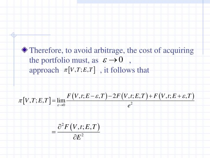 Therefore, to avoid arbitrage, the cost of acquiring the portfolio must, as               , approach                    , it follows that